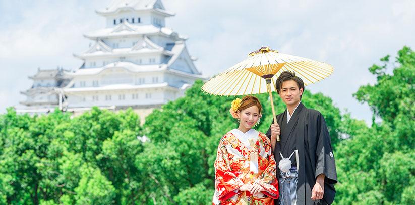 姫路城で結婚写真ロケ撮影