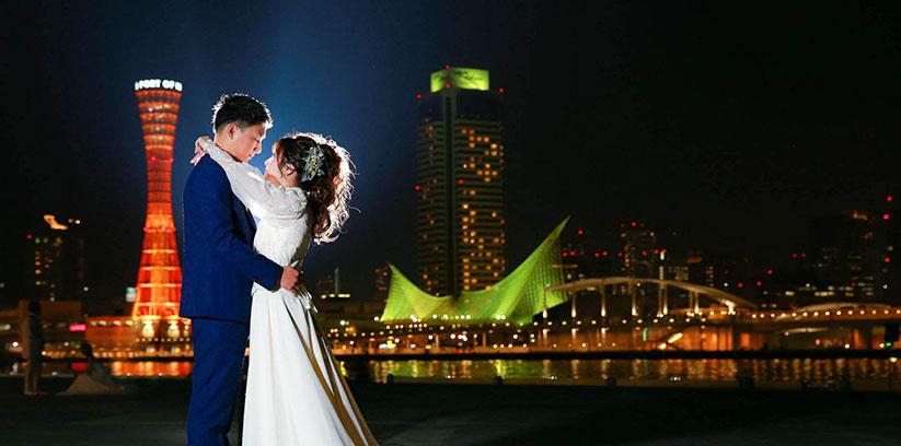 神戸ハーバーランドで結婚写真ロケ撮影